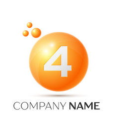 Number four splash logo orange dots and bubbles vector