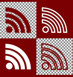 Rss sign bordo and white vector