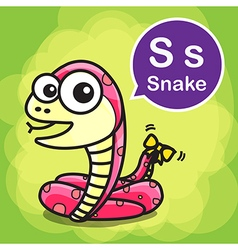 S snake color cartoon and alphabet for children to vector