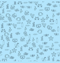 Seamless background with fish and equipment vector