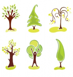 set abstract trees vector image