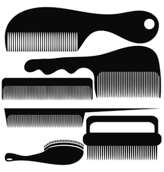 Set of different combs silhouettes vector