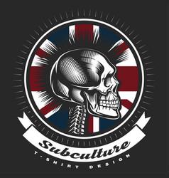 Skull punk vintage emblem vector