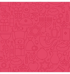 Thin happy hanukkah line holiday seamless pink vector