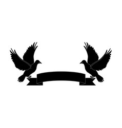 Two doves holding a banner ribbons clip art vector