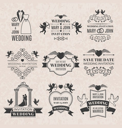 wedding labels set in victorian style monochrome vector image vector image