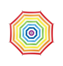 White Umbrella With Rainbow Stripes Top View vector image vector image