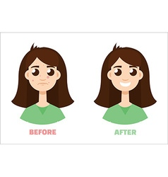 Acne gir before and after flat style vector