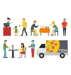 People in a pizzeria interior flat icons set vector