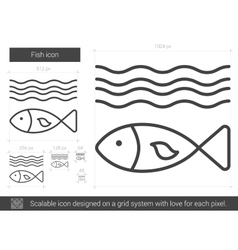 Fish line icon vector