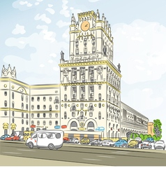 Sketch of a city-center minsk belarus vector