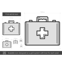 First aid kit line icon vector