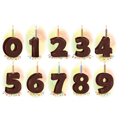 Chocolate numbers candles for holiday cake vector