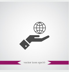 Globe on hand icon simple vector
