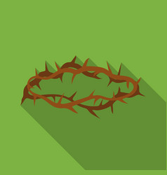 Crown of thorns icon in flat style isolated on vector