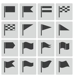black flag icons set vector image
