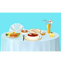 Lunch on the table chicken vector