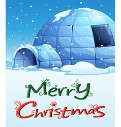 A christmas template with an igloo vector image