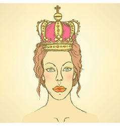 Sketch cute woman in crown vector
