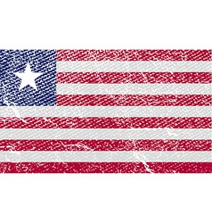 Flag of liberia with old texture vector