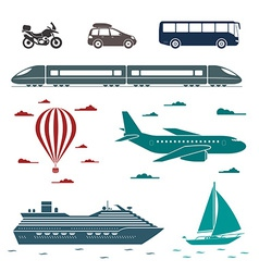 Transportation icons set of different means of vector