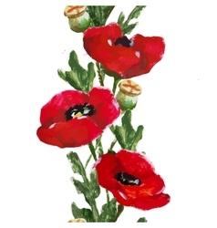 Watercolor floral stripe vector image