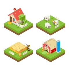 Farm Life isometric 3d Icon Real Estate Symbol vector image