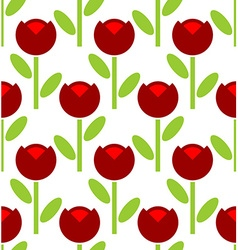Red tulip seamless pattern flower background retro vector