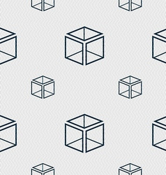 3d cube icon sign seamless pattern with geometric vector