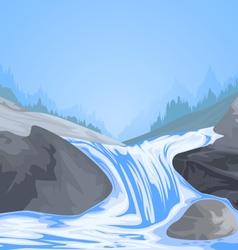 Waterfall scene vector