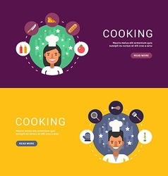 Food and cooking icons and chef cartoon character vector