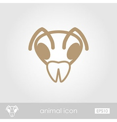 Bee outline thin icon animal head symbol vector