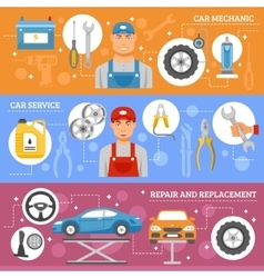 Car repair service flat banners set vector
