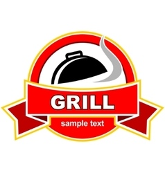 Grill label design vector