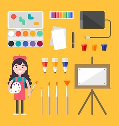 Painting tools and appliances female cartoon vector