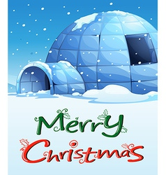 A christmas template with an igloo vector image vector image