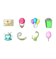 Amusement park icons in set collection for design vector