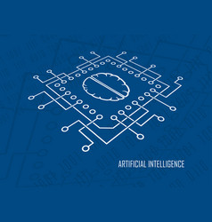 artificial intelligence cpu brain vector image vector image
