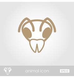 Bee outline thin icon animal head symbol vector