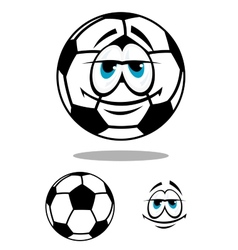 Black and white happy cartoon soccer ball vector
