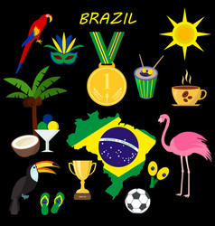 brazil summer travel information card cartoon vector image