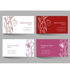 Business card with floral doodle design vector image