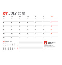 Calendar template for july 2017 business planner vector