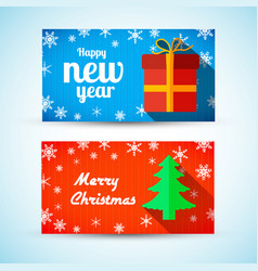 Christmas and new year horizontal banners vector