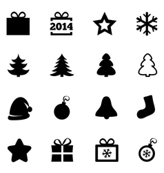 Christmas black flat icons New Year 2014 icons vector image vector image