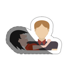 Couple together relation shadow vector