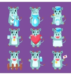 Cute cow character set vector