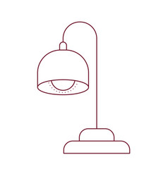 Dark red line contour of desk lamp vector