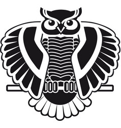 design for logo black and white owl sitting vector image vector image