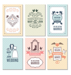 design template of wedding invitation cards vector image vector image